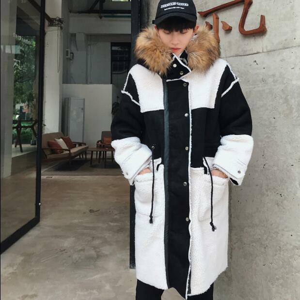 Korea Style Men's Winter Fur Collar Lamb Wool Coats Youth Casual Warm Overcoats