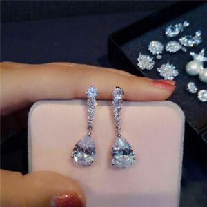 4-Ct-Pear-amp-Round-Moissanite-Women-039-s-Dangle-Drop-Earrings-14K-White-Gold-Over