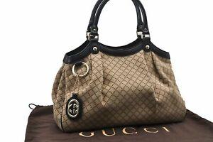 Authentic-GUCCI-Diamante-Sukey-Tote-Bag-GG-Canvas-Leather-Brown-73258