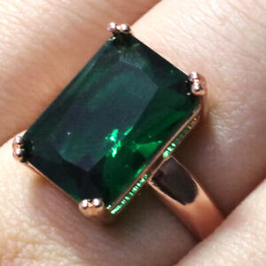 Sparkling-Cushion-Green-Emerald-Ring-Women-Jewelry-14K-Gold-Plated-Nickel-Free