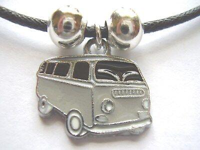 Pink enamel camper van shaped pendant black cotton cord surf style necklace