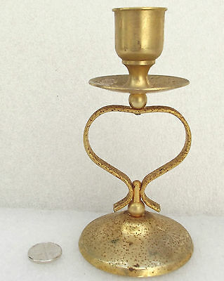 Vintage brass plated candle stick 5 inches tall RUST SPOTS