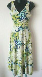 Chaps-Denim-para-mujeres-Vestido-Maxi-Talla-Mediana-Azul-Floral-Escote-en-V-sin-mangas