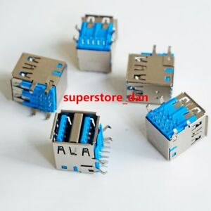 2x usb 3 0 female jack dual port sockect type a connector solder pcb rh ebay com