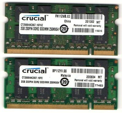 4GB 2X 2GB Kit Panasonic ToughBook CF-30 MK1//CF-30 MK2//CF-30 MK3 DDR2 Memory