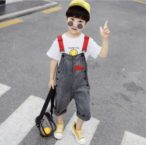 New Summer Boys Overall Suspenders Jeans Kids Child Loose Casual Bib Demin Pants