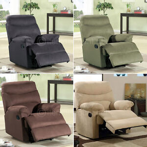Microfiber Chaise Recliner Chair Reclining Seat Soft Oversized Large Black Be