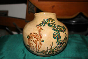 Antique-Pottery-Bowl-Vase-Signed-Symbols-Hand-Painted-Deer-Trees-Dated