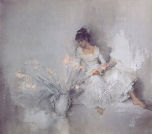 William-Russell-Flint-A-GIFT-OF-GLADIOLI-Figurative-Art-Unsigned-Released-2003