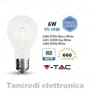 Lampadina-led-V-TAC-6W-E27-VT-1935-A60-frost-bianca-filamento-lampada-opaca-bulb