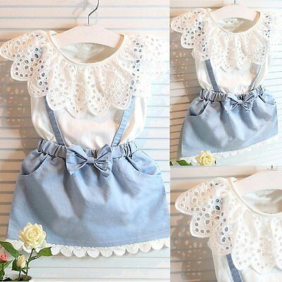 2PCS Kids Baby Girl Toddler Summer Clothes T-shirt Tops+Denim Skirt Outfits Sets
