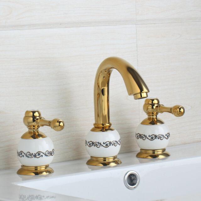 Bathroom 3PCS Widespread Basin Faucet Gold Finish Sink 2 Handles Mixer Tap