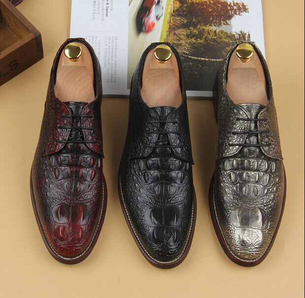 Mens lace up crocodile pattern leather pointed toe formal shoes mixed color Pump
