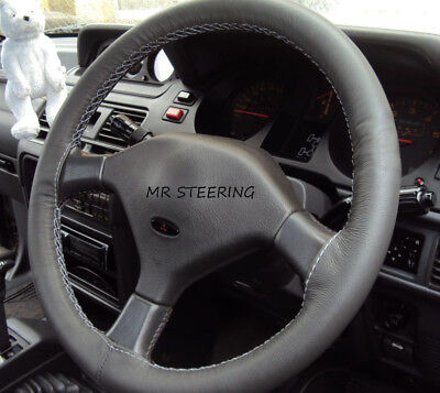 FOR MITSUBISHI PAJERO GREY PERFORATED LEATHER STEERING WHEEL COVER RED STITCH