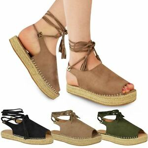 40da9939f Image is loading Womens-Ladies-Lace-Up-Espadrilles-Summer-Strappy-Sandals-