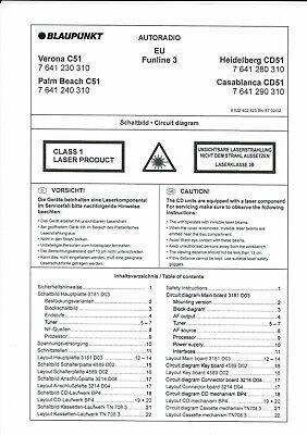 Blaupunkt Service Manual F. Verona/ Palm Beach C 51/cd51 Heidelberg/casablanca