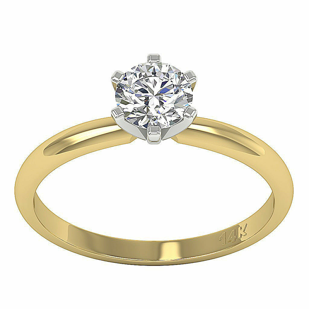 I1 G 0.80 Ct Genuine Diamond Solitaire Engagement Ring 14K Yellow gold 5.90 MM