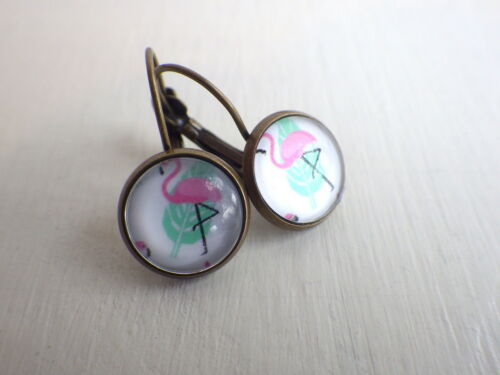 Ohrstecker Ohrringe Flamingo weiß pink Cabo Cabochons