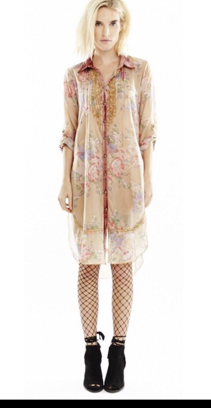NWT ARATTA Christy Turlington Long Floral Tunic Top Shirt Dress S
