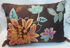 Embroidered and Appliqued Brown Floral Pillow Pier 1 Orange Blue Pink Stripe