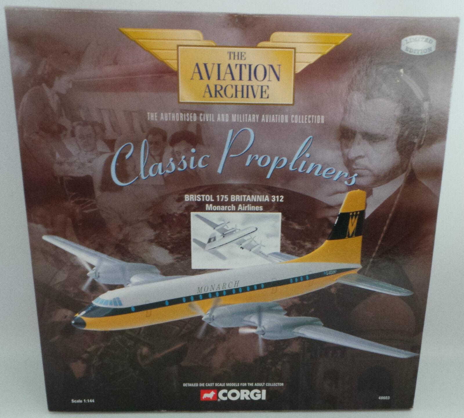 AVIATION   CORGI BRISTOL 175 BRITANNIA 312 MONARCH AIRLINES MADE IN 2000
