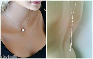 Bellissima-collana-Y-da-schiena-con-perle-bianche-Colore-Argento
