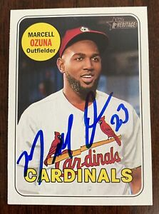Marcell Ozuna Auto Signed 2018 Topps Heritage Autographed Cardinals In Person
