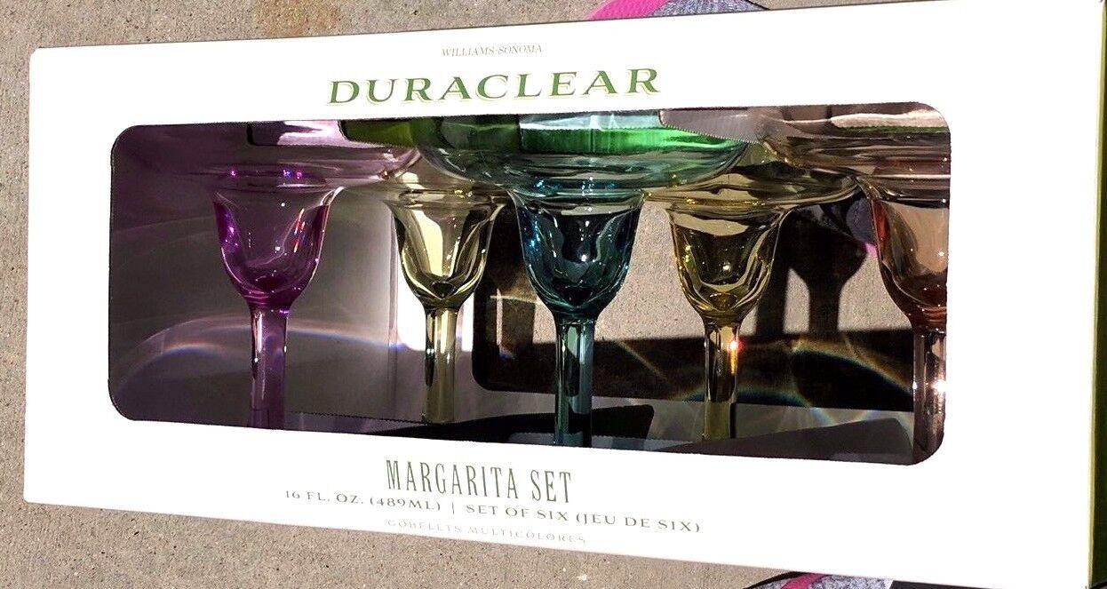 WILLIAMS SONOMA  6 DURACLEAR MARGARITA GLASSES MULTI Couleur  BRAND NEW