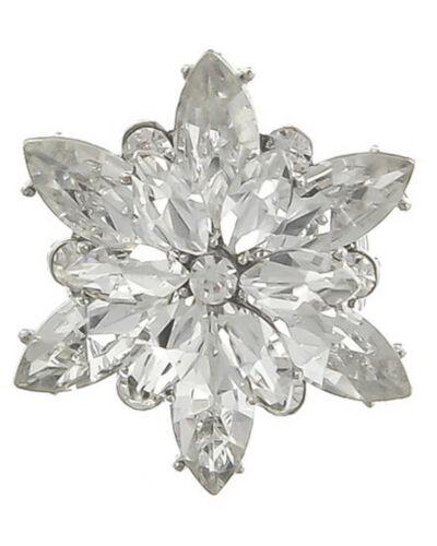 Anillo plata stretch elástica flor cristal claro transparente de 3,7 cm por.