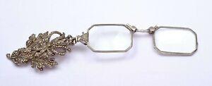 1900's German 835 Silver Marcasite Lorgnette Fold Eye Opera Glasses Brooch Clip