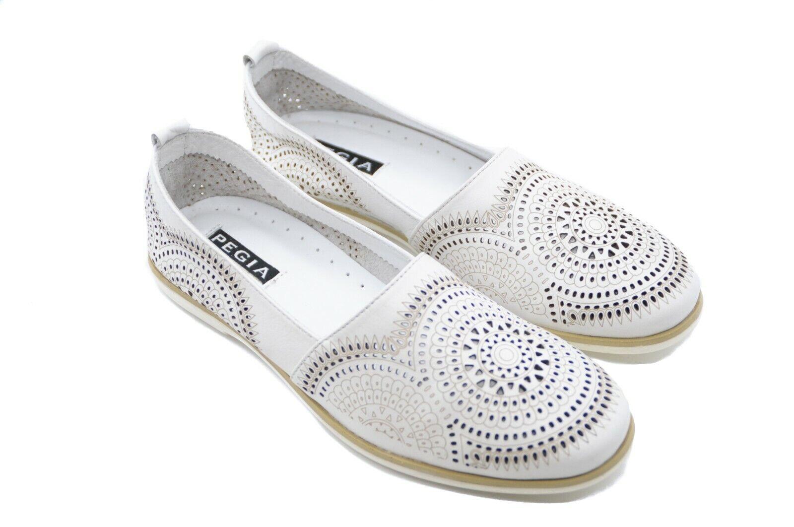centro commerciale di moda Pegia da donna in pelle morbida bianca Comfort Mocassini Scarpe Scarpe Scarpe con design mosaico FUSTELLATO  risparmia fino al 70%
