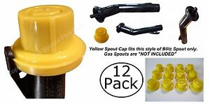 12X BLITZ Yellow Spout Cap fits self-venting gas can spouts 900302 900092 900094