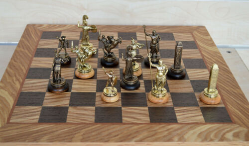 Manopoulos Greek Mythology Chess Set GoldCopper Olive Wood Board
