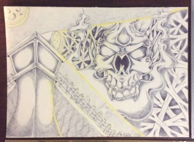 Original Art Drawing Skull Prison Tower Theme - Hansen 2012