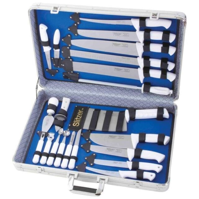 Slitzer 22pc Professional Chef's Cutlery Set w/Case  White Handles Knife  Knives