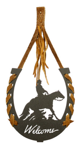 Reining Horse Horseshoe Welcome Laced With Leather