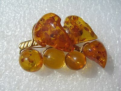 Vintage Russian Baltic Amber Brass Gilded Pin Brooch  10,12 gr