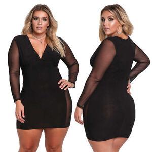 9f5a47b275a4 Details about Women Sexy Mini Dress Bodycon Evening Party Deep V-neck Plus  Knit Sheath Dresses