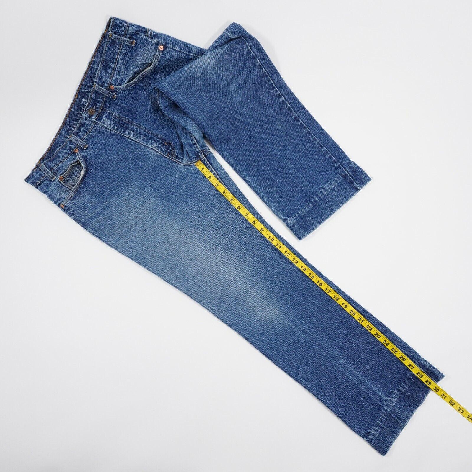 Vintage 90s Levis 517 Mens 36X30 Blue Faded Distr… - image 8