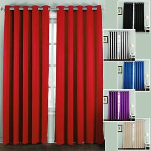 Thermal-Blackout-Curtains-Pair-Ring-Top-Eyelet-Ready-Made-Super-Soft