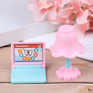Creative-gift-Dollhouse-Miniature-Modern-laptop-Computer-and-lamp-Furnit-rePT