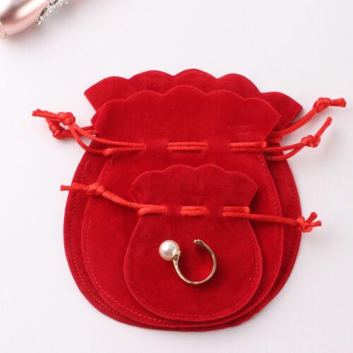 12Pcs//Set Velvet Flocking Drawstring Pouch Bags Storage Coin Jewelry Gift Bag