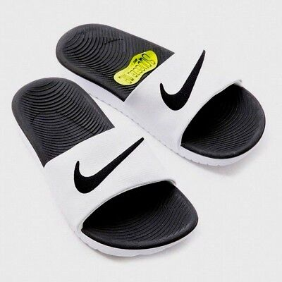 purchase cheap 58522 6bdd5 Nike Kawa Slide Slider Slip On Solar Soft Pool Sandals Junior Womens White  Black