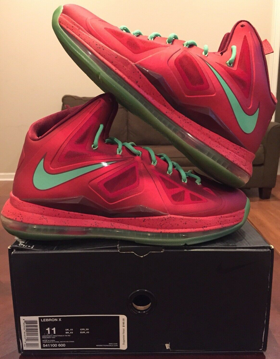 Nike Lebron 10 X XMAS Christmas Red Green 11 Diamond Jordan 1 2 3 4 Lot The latest discount shoes for men and women