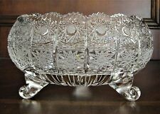 """Bohemia Crystal Footed Bowl, 8"""" Wide, hand cut, Queenlace, From Czech Republic"""