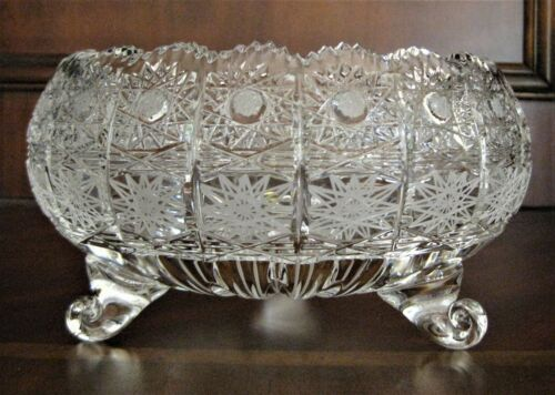 Bohemian Czech Vintage Crystal 7 Round Bowl Hand Cut Queen Lace 24% Lead Glass