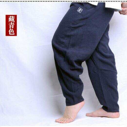 Mens Casual Ethnic Style Cotton Linen Harem Pants Loose Wide Leg Trousers New