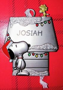 Snoopy-and-Woodstock-Hallmark-Pewter-Ornament-Peanuts-Personalized-JOSIAH-New