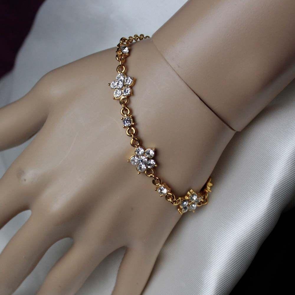 Wedding Bridal Bracelet Gold Floral Design In Swarovski Rhinestone Elements
