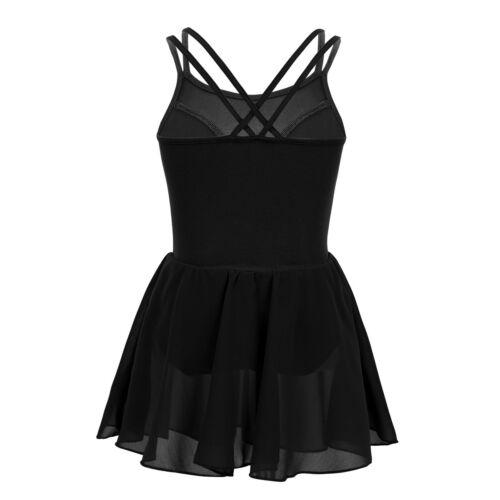 Girls Sequins Leotard Dress Ballet Dance Gymnastics Tutu Skirt Dancewear Costume